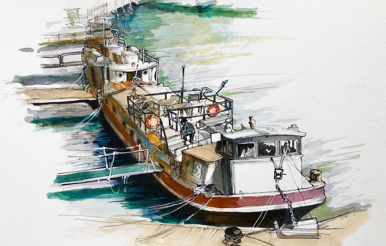 Фото обои рисунок, баржа, авкварель, Набережная Сены