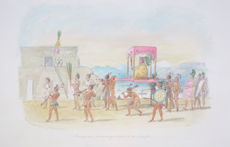 Фото обои C.H.S Watercolors, Montezuma proceeding, in state to the temple