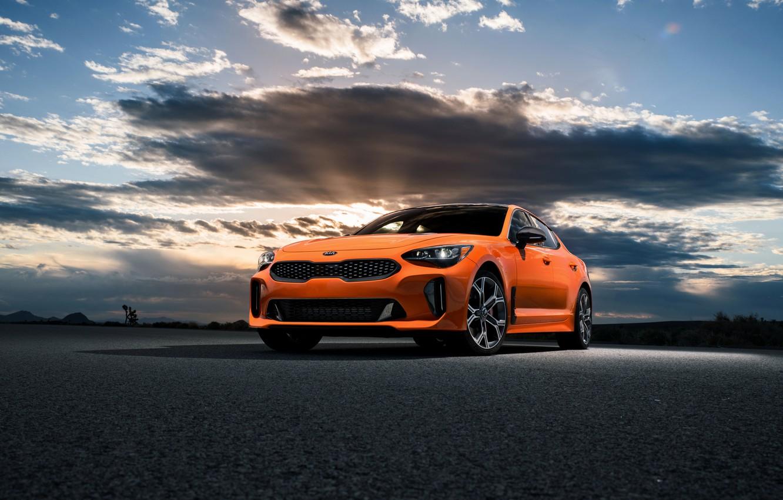 Фото обои облака, оранжевый, Kia, GTS, пятидверный, Stinger, 2020, фастбэк