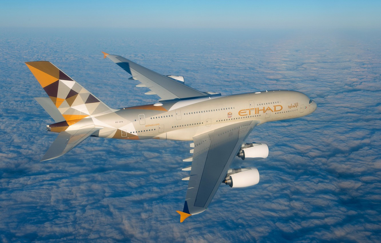 Фото обои Облака, A380, Airbus, Etihad Airways, Крыло, Airbus A380, Пассажирский самолёт, Airbus A380-800
