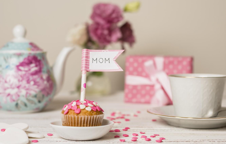 Фото обои подарок, чай, кекс, День Матери, ПРАЗДНИК