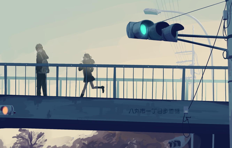 Фото обои девушка, мост, светофор, парень