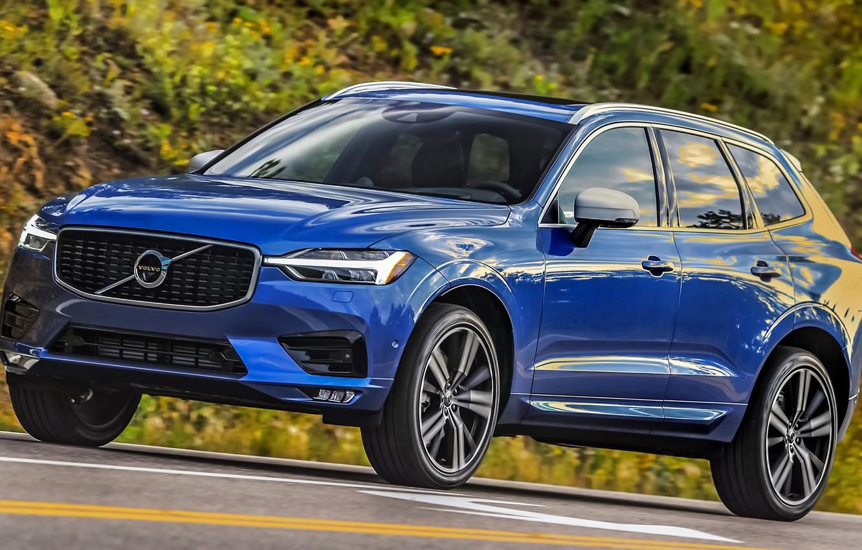 Фото обои дорога, car, машина, синий, фары, Volvo, сбоку, blue, колёса, кроссовер, R-Design, XC60, Volvo XC60, Volvo …