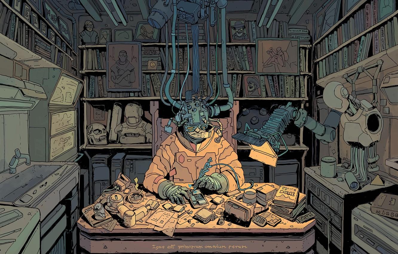 Фото обои Стол, Комната, Шлем, Fantasy, Арт, Art, Robot, Robots, Фантастика, Киборг, Книги, Киберпанк, Ремонт, Cyberpunk, by …