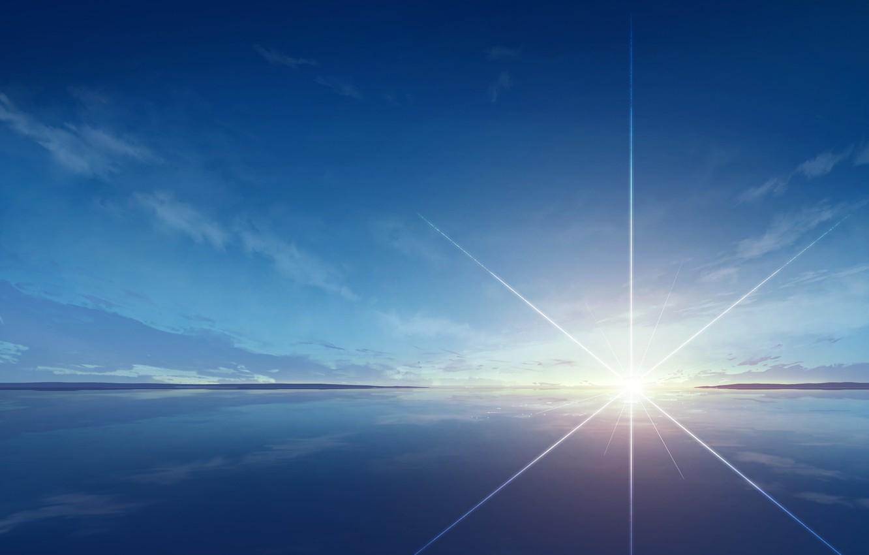 Фото обои небо, вода, солнце