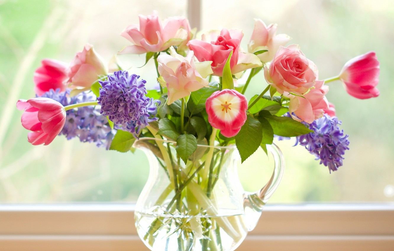 Фото обои розы, букет, тюльпаны, кувшин, гиацинты