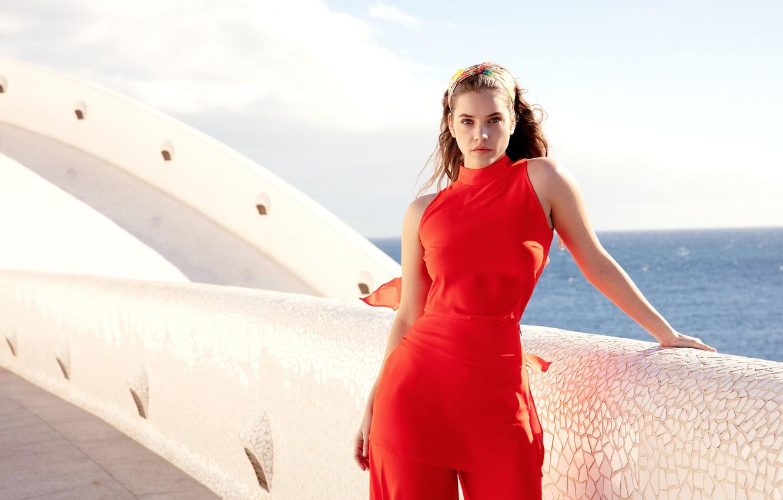 Фото обои море, взгляд, девушка, лицо, поза, модель, фигура, красотка, Barbara Palvin