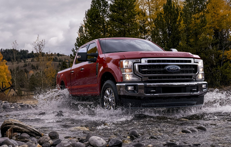Фото обои Red, Pickup, Ford F250, American Car