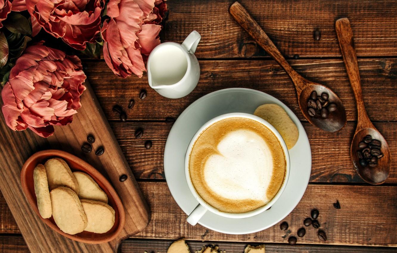 Фото обои кофе, печенье, cappuccino