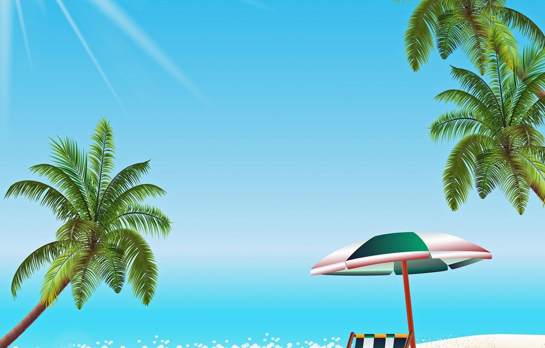 Фото обои море, пляж, солнце, отдых