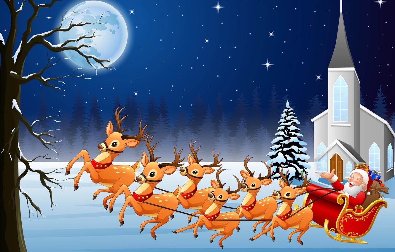Фото обои луна, Рождество, Новый год, упряжка, сани, олени, Дед Мороз, Санта-Клаус