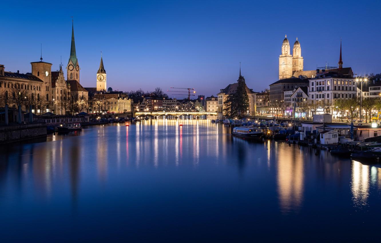 Фото обои мост, огни, река, вечер, Швейцария, Цюрих