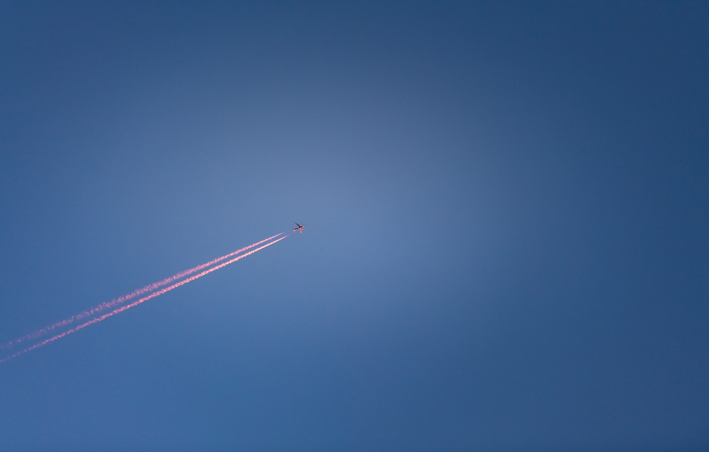Фото обои небо, след, самолёт