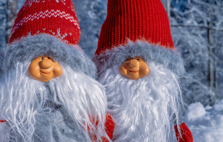 Фото обои куклы, пара, гномы, фигуры, композиция, зимняя сказка, белобородые, бородатые, сказка леса, смешные человечки
