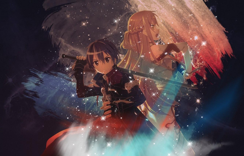 Фото обои меч, искры, Kirito, Kirigaya Kazuto, спина к спине, Asuna, голубой свет, Sword art Online, Мастера …