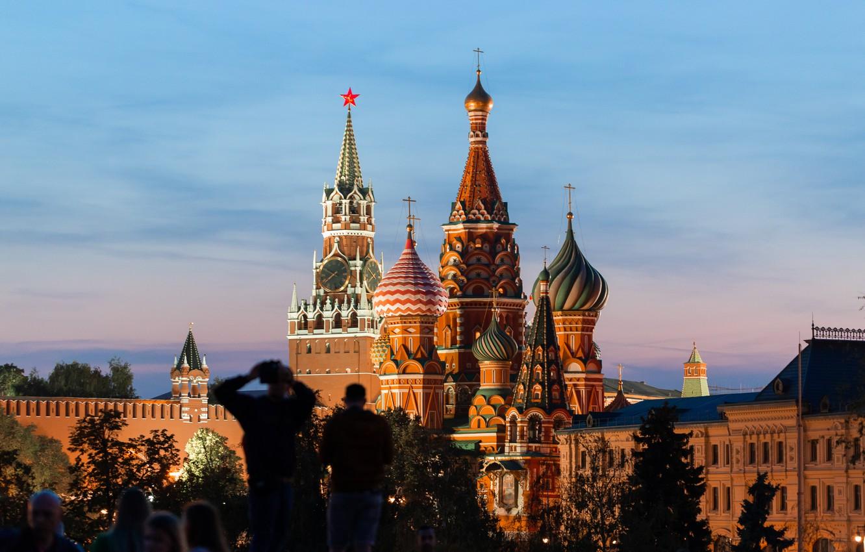 Фото обои Закат, Вечер, Город, Москва, Кремль