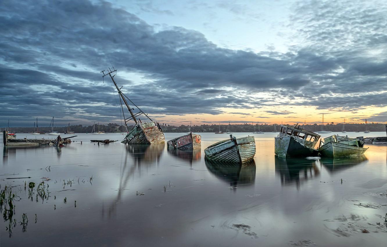 Фото обои природа, река, берег, лодки