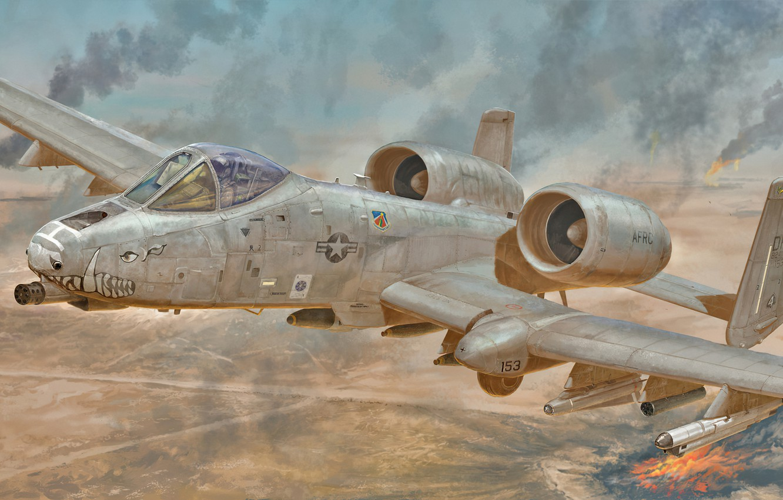 Фото обои art, airplane, aviation, jet, a10 thunderbolt 2