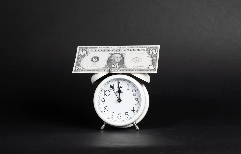 Фото обои часы, деньги, доллары