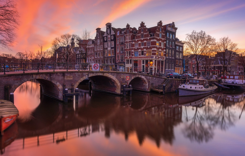 Фото обои мост, река, дома, Амстердам, Нидерланды