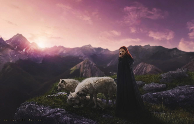 Фото обои небо, девушка, закат, горы, природа, lights, рассвет, обои, женщина, рабочий стол, волки, wallpaper, forest, nature, …