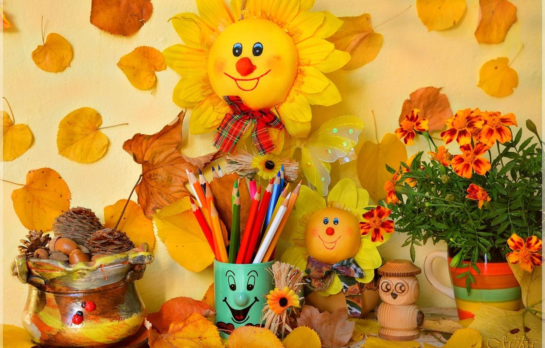 Фото обои Карандаши, Цветочки, Сувениры, Осенние листья
