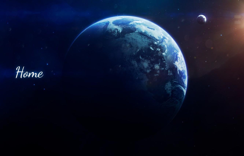 Фото обои Луна, Планета, Дом, Космос, Свет, Земля, Light, Moon, Арт, Space, Блик, Art, Earth, Спутник, Home, ...