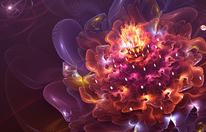 Фото обои яркие краски, фракталы, красота, beauty, fractals, bright colors, fire flower, огненный цветок, flashes of light, …