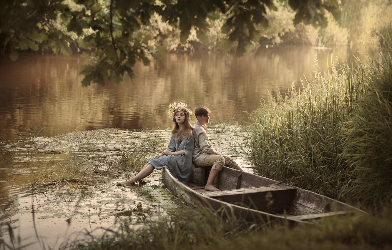 Фото обои лето, девушка, деревья, природа, река, лодка, пара, парень, травы