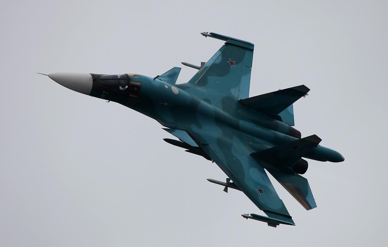 Фото обои полёт, российский, истребитель-бомбардировщик, Fullback, Су-34, ОКБ Сухого, сверхзвуковой, многофункциональный, ВКС России, Su-34, поколение 4++