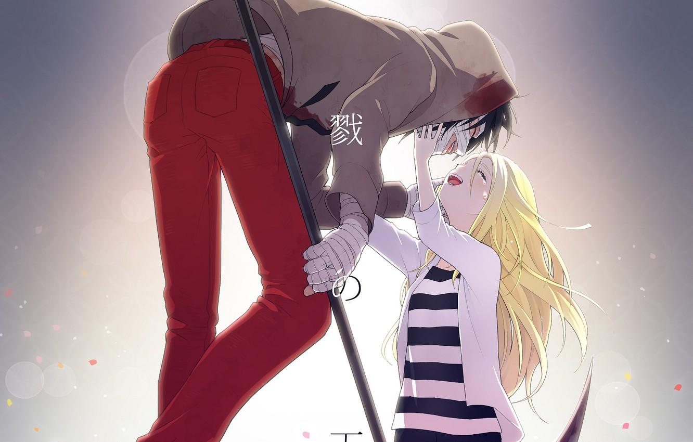Фото обои девушка, парень, двое, красные штаны, Ангел кровопролития, Satsuriku no Tenshi