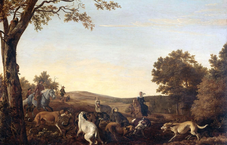 Фото обои пейзаж, масло, картина, холст, Охота на Лис, 1679, Людольф Леендертс де Йонг, Ludolf Leendertsz de …
