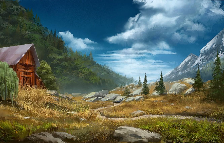 Фото обои горы, камни, долина, постройка, Daily sketch