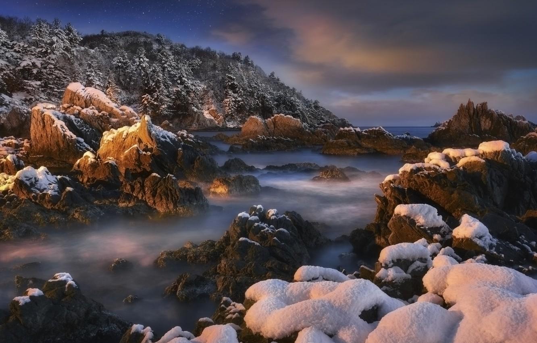 Фото обои зима, море, лес, небо, снег, деревья, пейзаж, ночь, природа, скала, камни, берег, звёзды, Корея, jae …