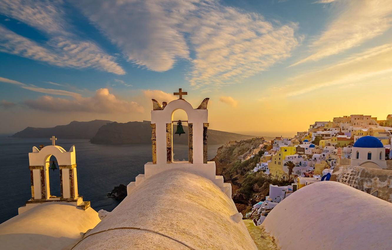 Обои греция, церковь, Облака, Облака, купол. Города foto 8