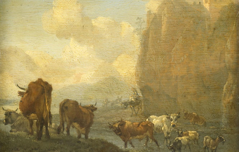 Фото обои животные, масло, картина, 1694, Виллем Ромейн, Стадо у Реки, Willem Romeyn