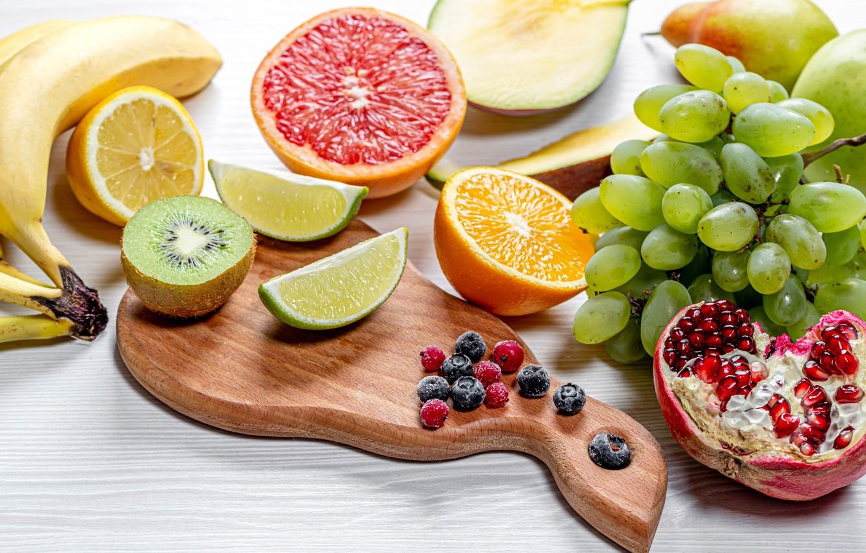 Фото обои ягоды, стол, фрукты