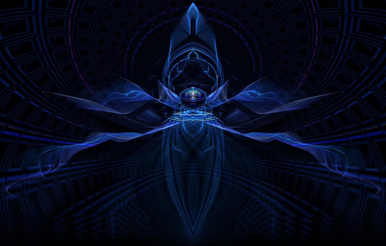 Фото обои фракталы, голубое свечение, dark blue, темно-синий, fractals, geometric shapes, геометрические формы, blue glow