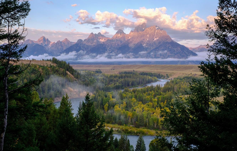 Фото обои лес, облака, горы, река