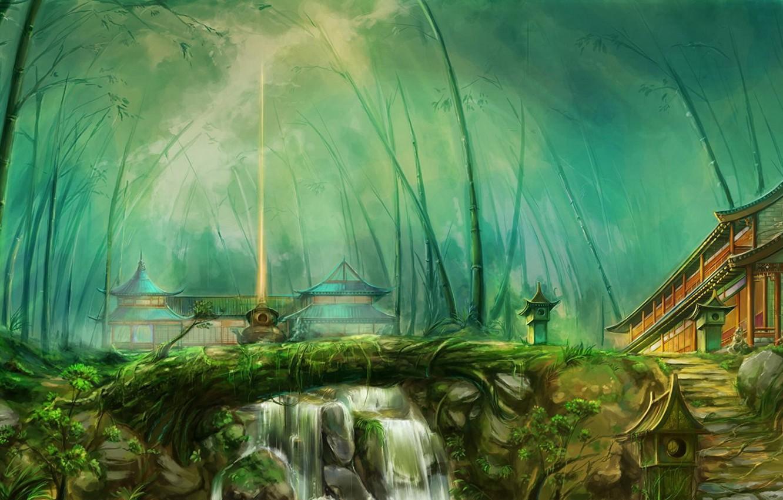Фото обои природа, рисунок, дома, бамбук, nature, строения, houses, buildings, bamboo, fantasy art, луч света, ray of …
