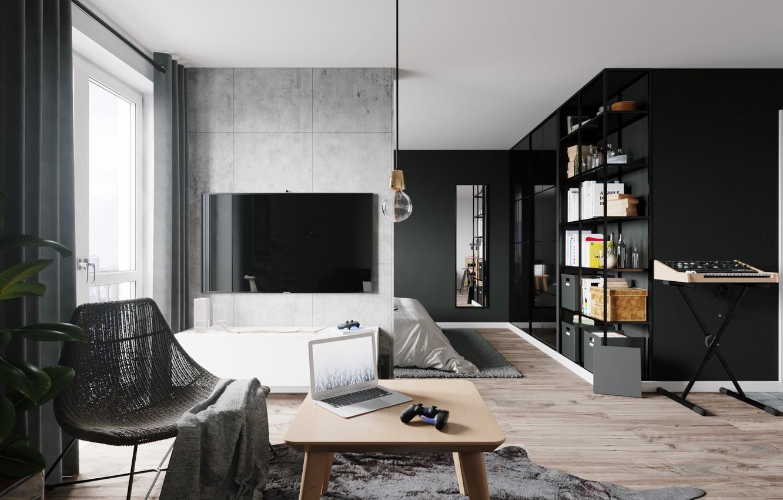 Фото обои стол, кресло, полка, ноутбук, квартира, синтезатор