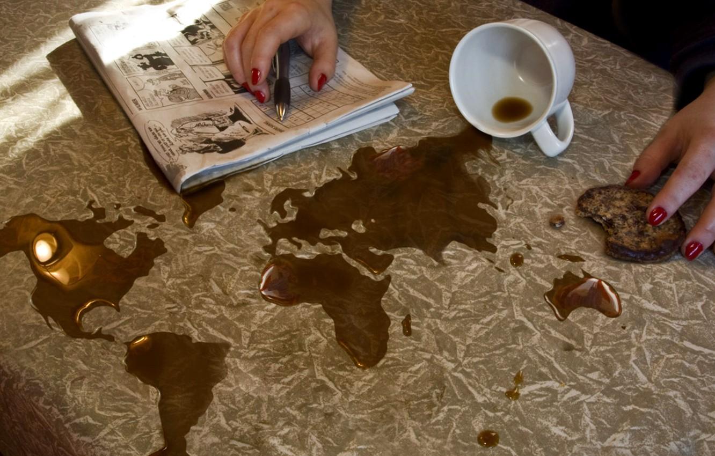 Фото обои map, coffee, world map, spill, Erik Johansson