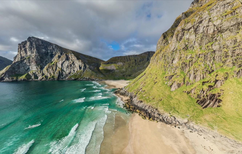 Фото обои песок, море, небо, горы