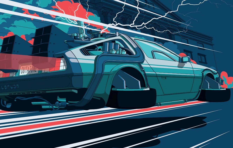 Фото обои молнии, скорость, автомобиль, машина времени, ратуша, назад в будущее, делореан, delorean, back to the future
