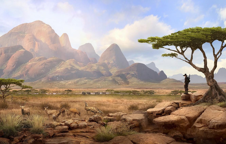 Фото обои горы, путник, Solomon Kane, Africa Landscape, sabana