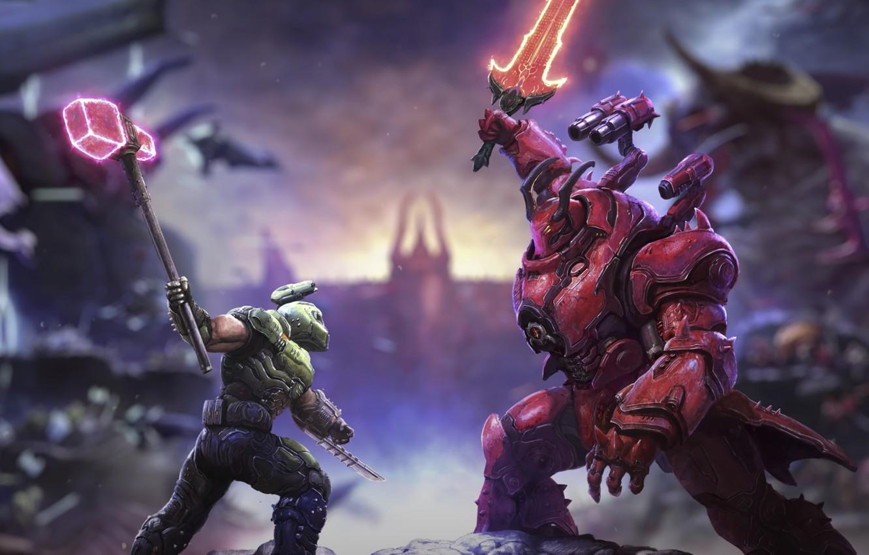 Фото обои battle, DLC, dark lord, Doom Eternal, doom slayer, th Ancient Gods part 2