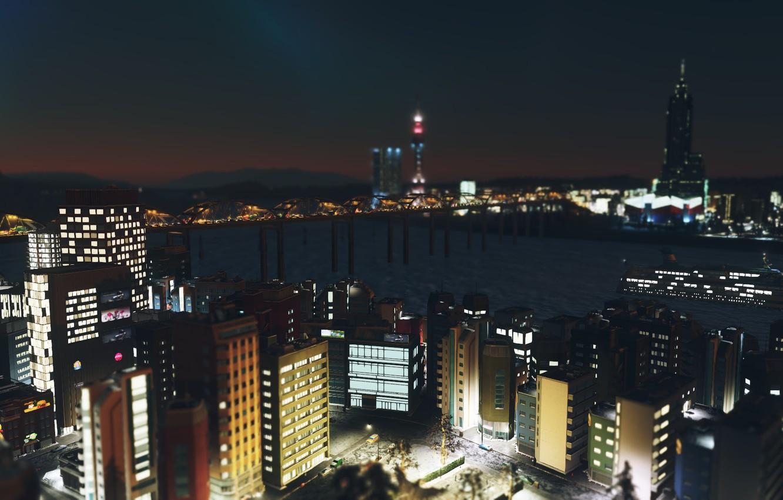 Фото обои пейзаж, ночь, город, cities skylines