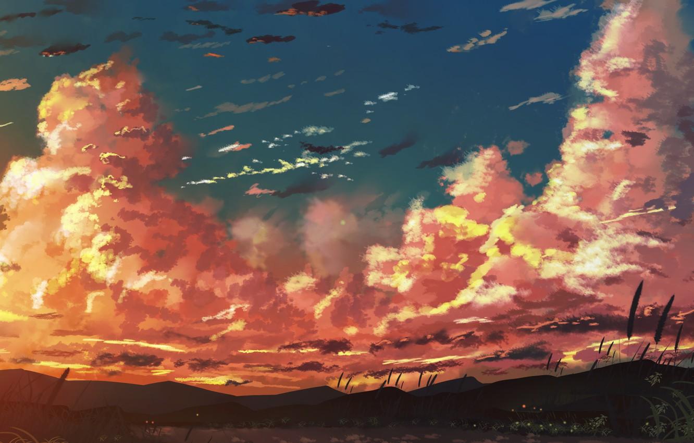 Фото обои небо, закат, горы, озеро