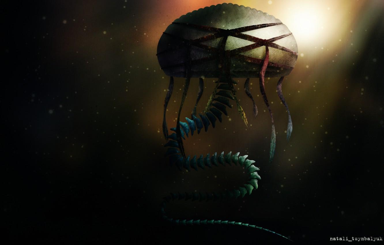 Фото обои гриб, змея, монстр, медуза, скелет, мутант, хребет