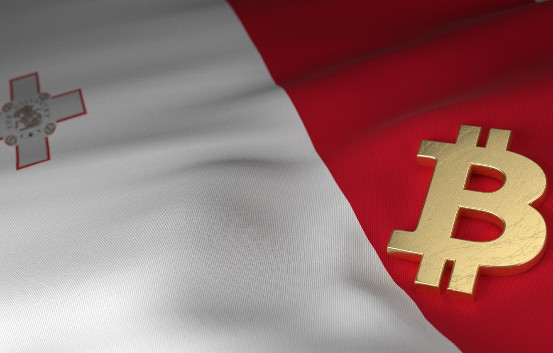 Фото обои размытие, флаг, мальта, bitcoin, malta, биткоин